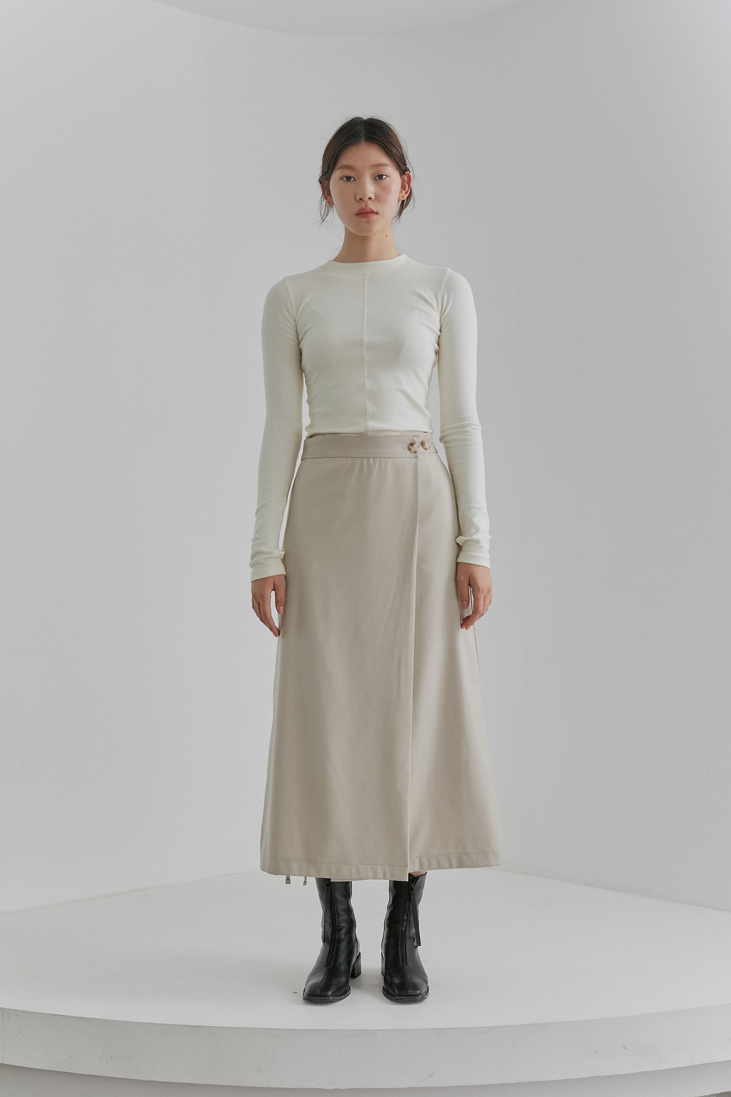 Long Wrap Skirts Women [Light Beige]