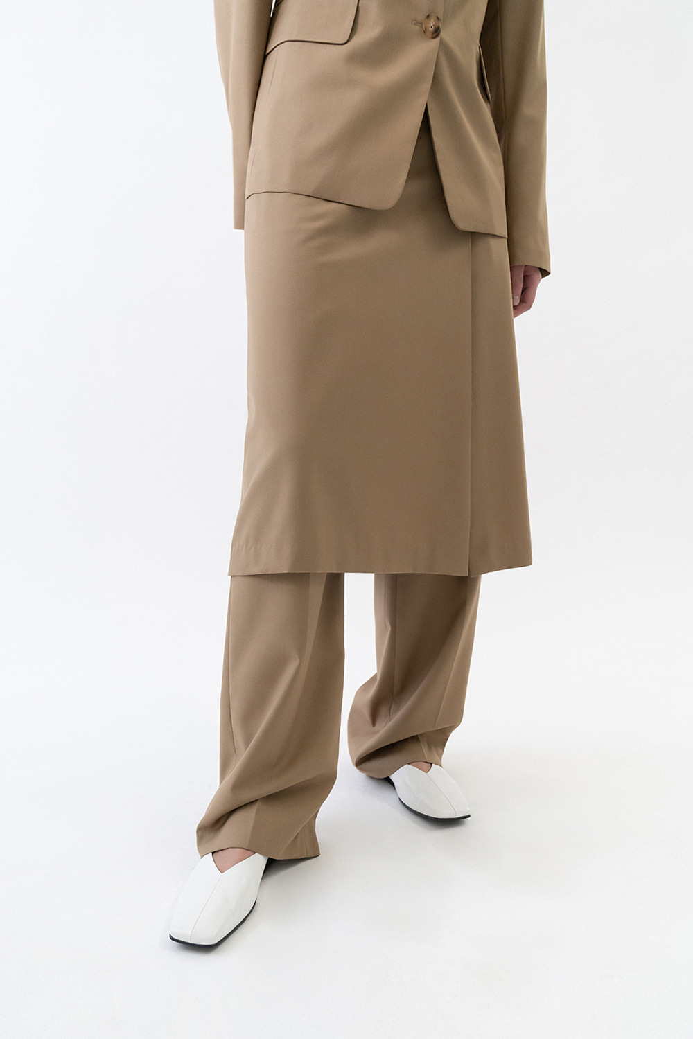 Layered Skirts Pants Women [Beige]