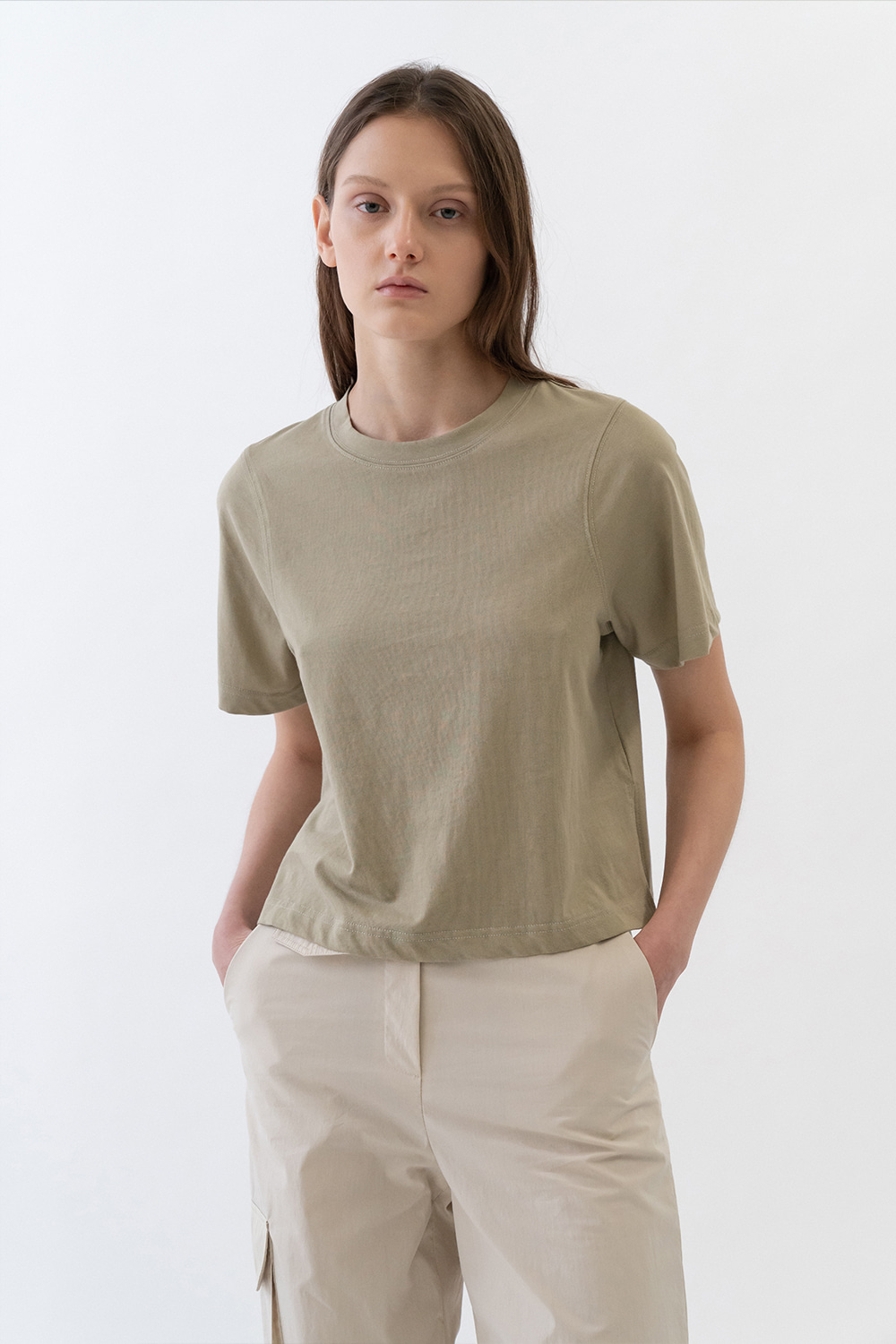Round Neck Cropped Tee Women [Olive Green]